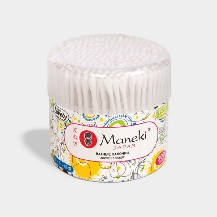 Maneki Палочки ватные гигиенические, серия Lovely, с белым пластиковым стиком, в пластиковом стакане, 300 шт./упаковка