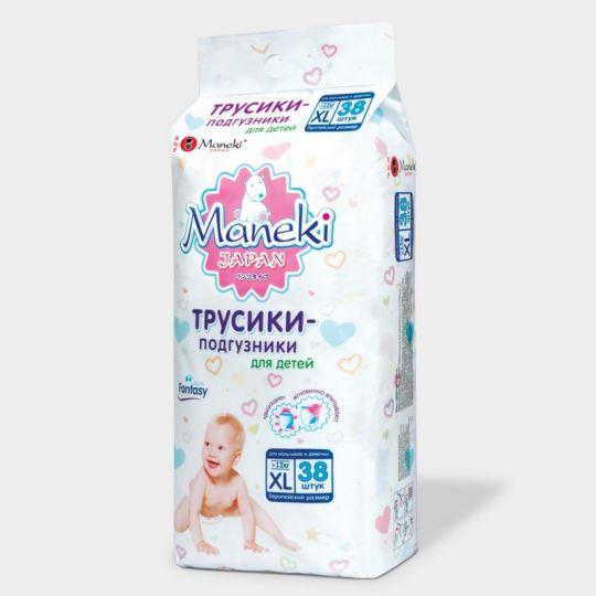 Maneki Трусики-подгузники детские одноразовые, серия Fantasy, размер XL, >12 кг, 38 шт./упаковка