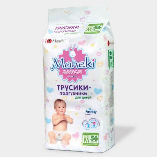 Maneki Трусики-подгузники детские одноразовые, серия Fantasy, размер M, 6-11 кг, 56 шт./упаковка