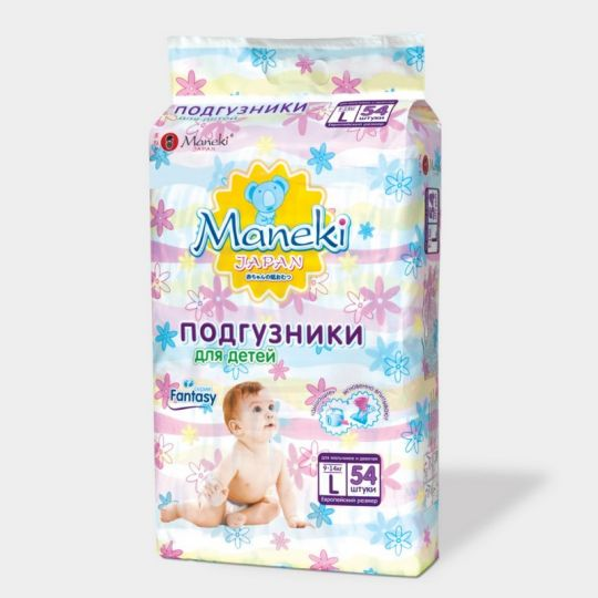Maneki Подгузники детские одноразовые Maneki, серия Fantasy, размер L, 9-14 кг, 54 шт./упаковка