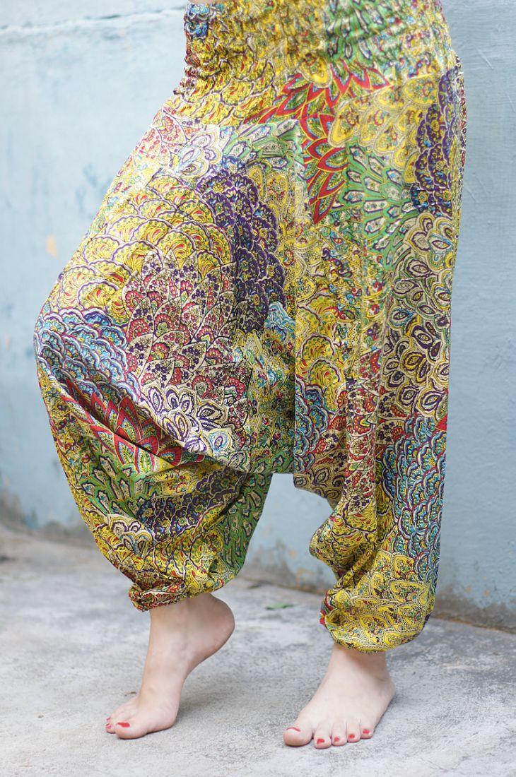 Индийские штаны алладины с разноцветным принтом (СПб)