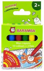 Baramba.Восковые карандаши 12 цв.+раскраска