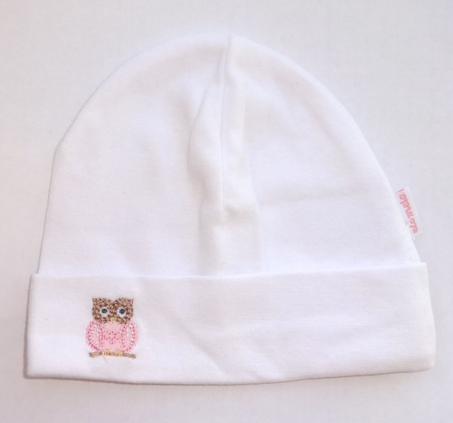 Белая шапочка для новорожденной девочки