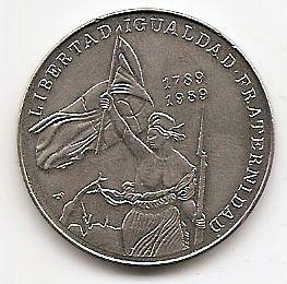 Свобода 200 лет французской революции 1 песо Куба  1989