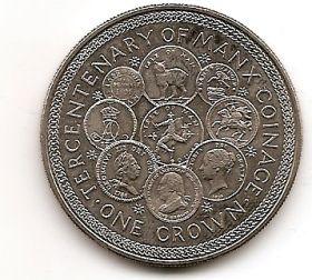 300 лет монетному двору Англии 1 крона Остров Мэн 1979