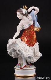 Балерина в красном платье, кружевная, Volkstedt, Германия, до 1935 года., артикул 01642