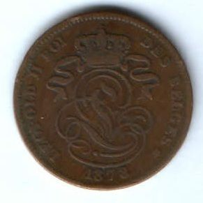 2 сантима 1873 г. Бельгия