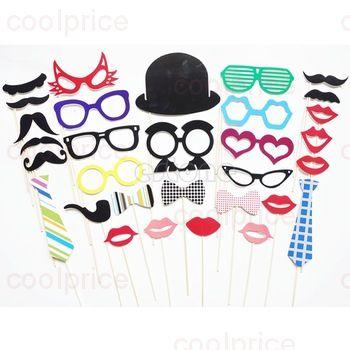 Усы, губы, очки на палочке для фотосессии 31шт.