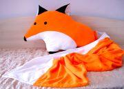 огромная подушка Лиса и оранжеый плед-хвостик