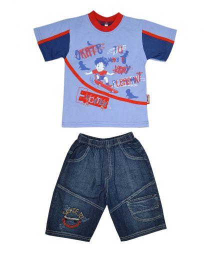 Комплект из трикотажной футболки и джинсовых шорт