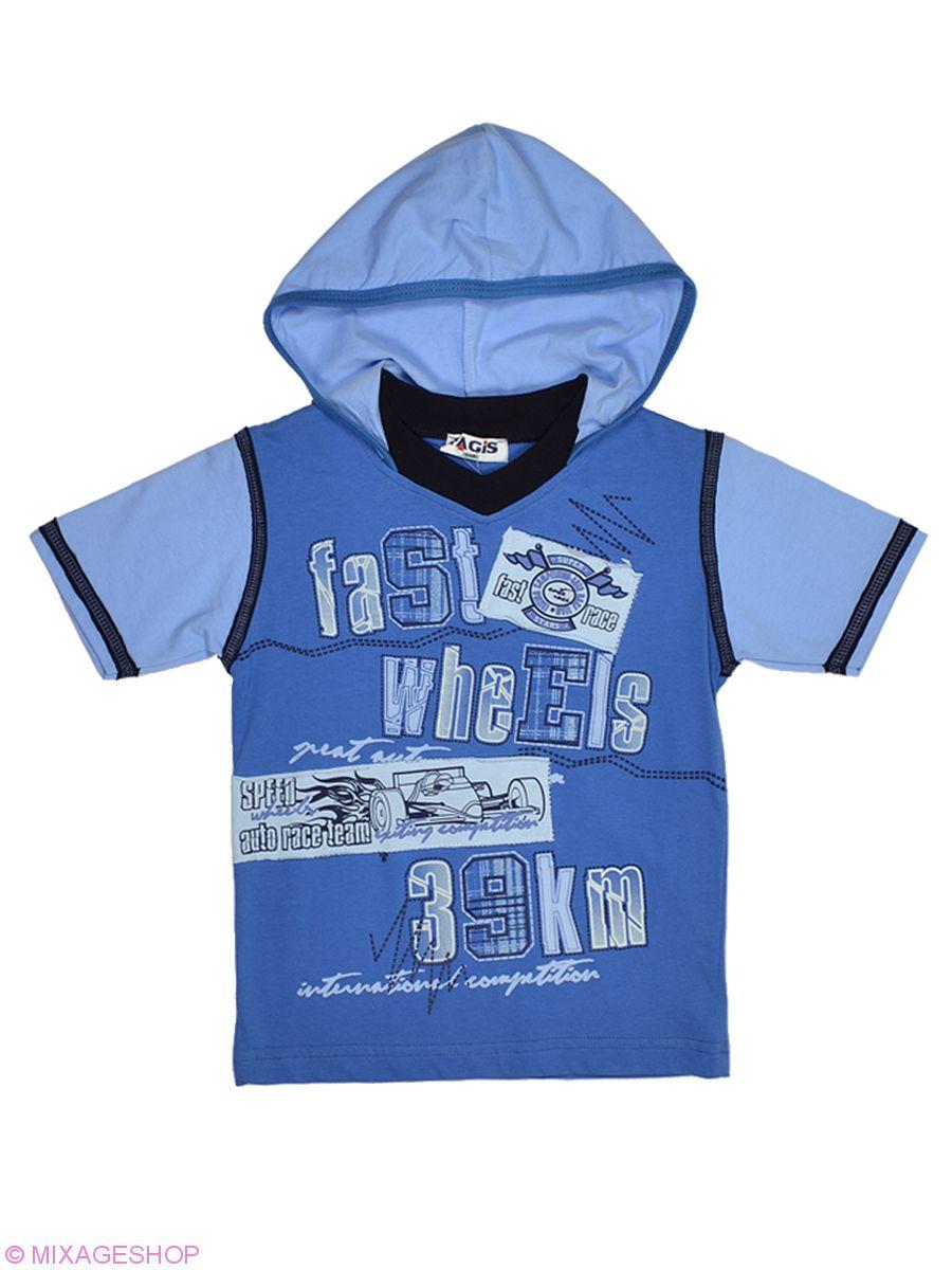 Голубая трикотажная футболка с капюшоном