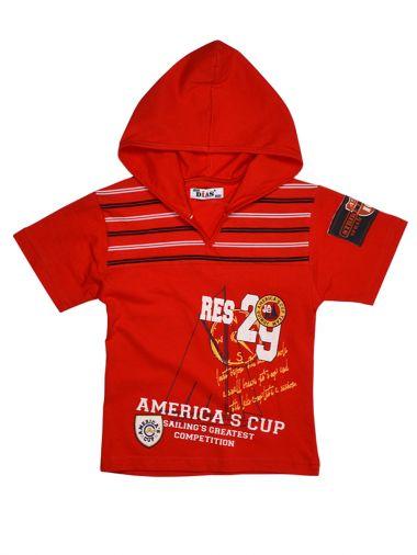 Стильная красная футболка с капюшоном