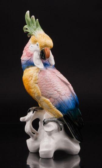 Фарфоровая статуэтка птицы Попугай какаду производства Karl Ens, Германия