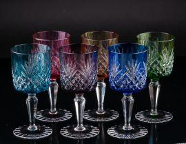 Разноцветные бокалы для вина, 6 шт, Германия, сер. 20 в., артикул 01672