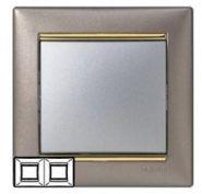 Рамка Legrand Valena 2 поста титан/золото (арт.770362)