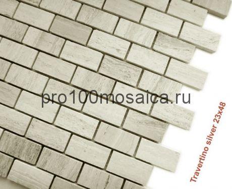 Travertino Silver 23 x 48 POL Мозаика серия Pietrine Stone, размер, мм: 298*298*4 (Caramelle)