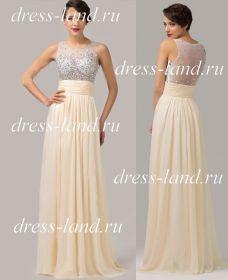 Вечернее платье со стразами цвета айвори