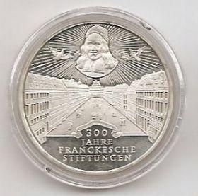 300 лет Фонда Франке (Franckesche Stiftungen) 10 марок ФРГ 1998 А PROOF