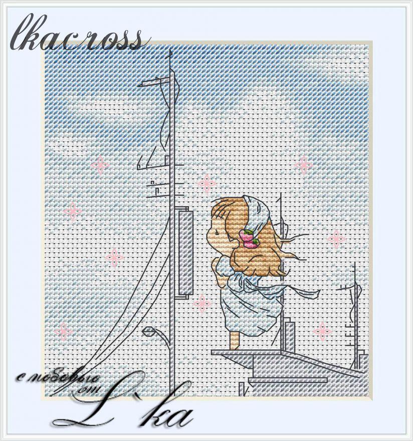 """""""На пристани"""". Схема для вышивания крестиком."""