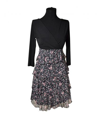 Комбинированное платье с завышенной линией талии