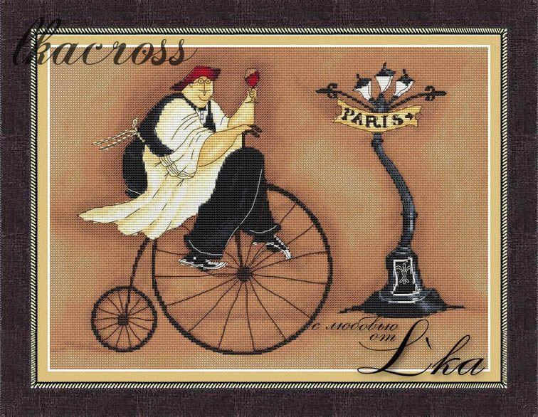 """""""Французский повар - 1"""". Схема для вышивания крестиком."""