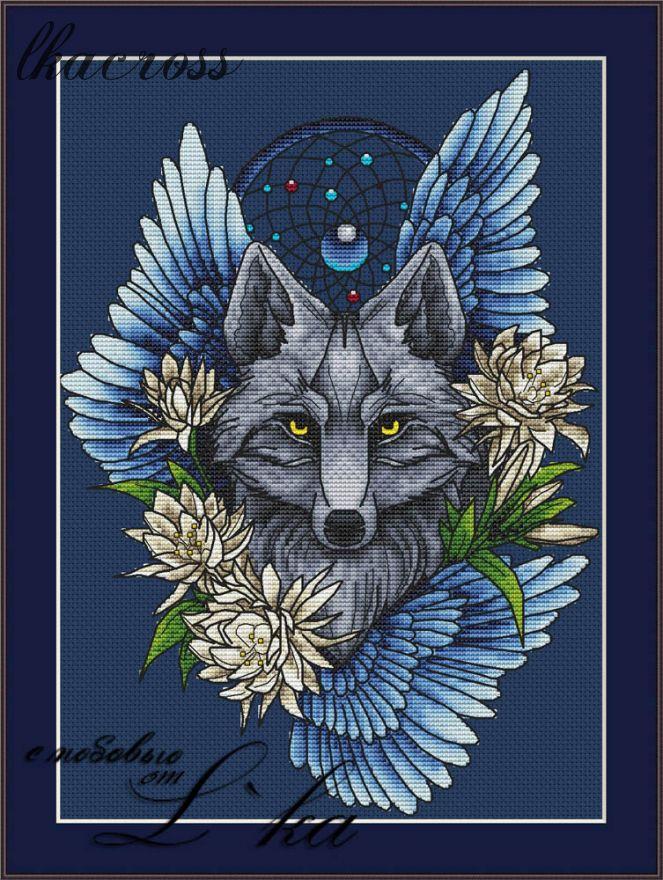 """""""Ловец снов - Волк1"""". Схема/набор для вышивания крестиком."""