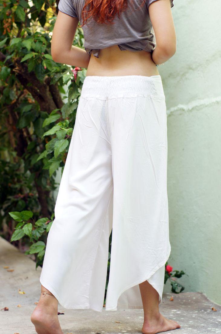 БЕЛЫЕ Индийские штаны с запахом на шнуровке (Москва)