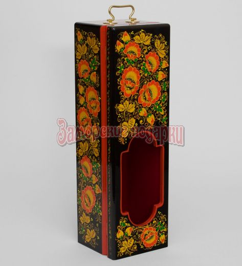 Футляр для бутылки 335х105х100 с хохломской росписью