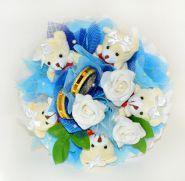 """Букет из игрушек №458-5 """"Свадебный переполох синий"""""""