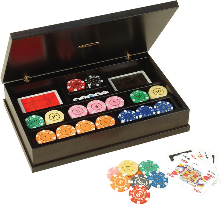 Набор для покера в деревянном кейсе, 128 фишек, пластик,  350 х 225 х 70 мм