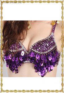Фиолетовый бюстгальтер с блестками для танца живота