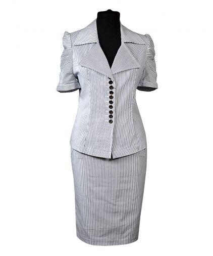 Хлопковый костюм с юбкой в мелкую полоску