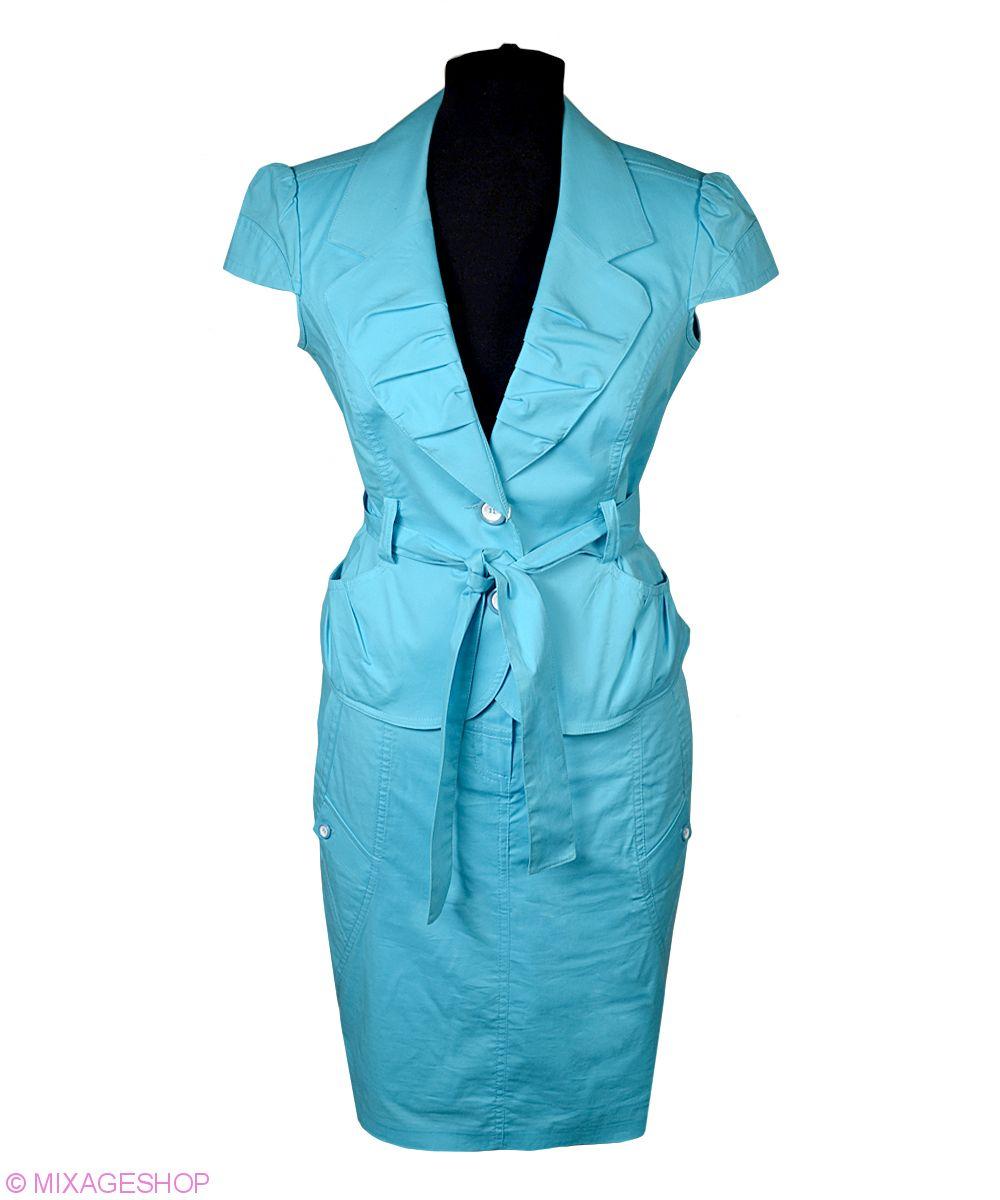 Легкий хлопковый костюм с юбкой бирюзового цвета