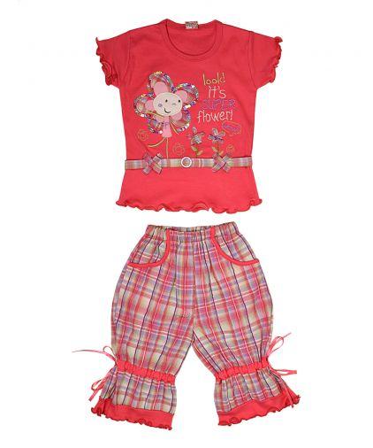 Трикотажный комбинированный комплект футболка и капри