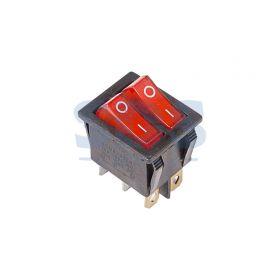 Красный двойной клавишный выключатель 250В 15А (6с) ON-OFF с подсветкой (RWB-511, SC-767)