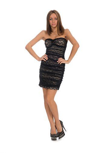 Гипюровое платье-бандо на бежевой подкладке