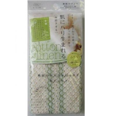 Японская натуральная массажная мочалка Хлопок-лен средней жесткости Aisen