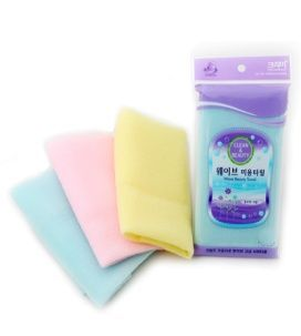 Корейская мочалка для душа, средней жесткости (розовая, голубая, желтая) Shower Towel Wave