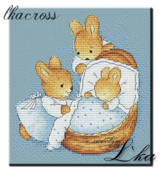 """""""Little bunny"""". Схема для вышивания крестиком."""