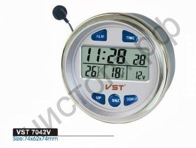 Часы  эл. авто VST7042V (будильник, темп.внутр. и наруж.,вольтметр) круглые в приб.жигулей