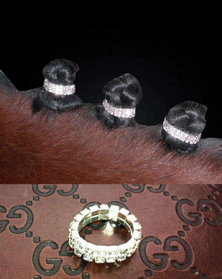 Колечки со стразами для гривы лошади