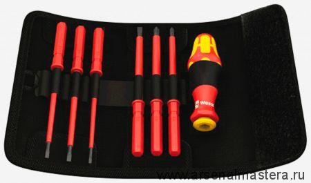 Набор диэлектрический WERA 1000V отвертка со сменными стержнями в поясной сумке 2,5 3,5 4,0 5,5 PH1*154 PH2*154
