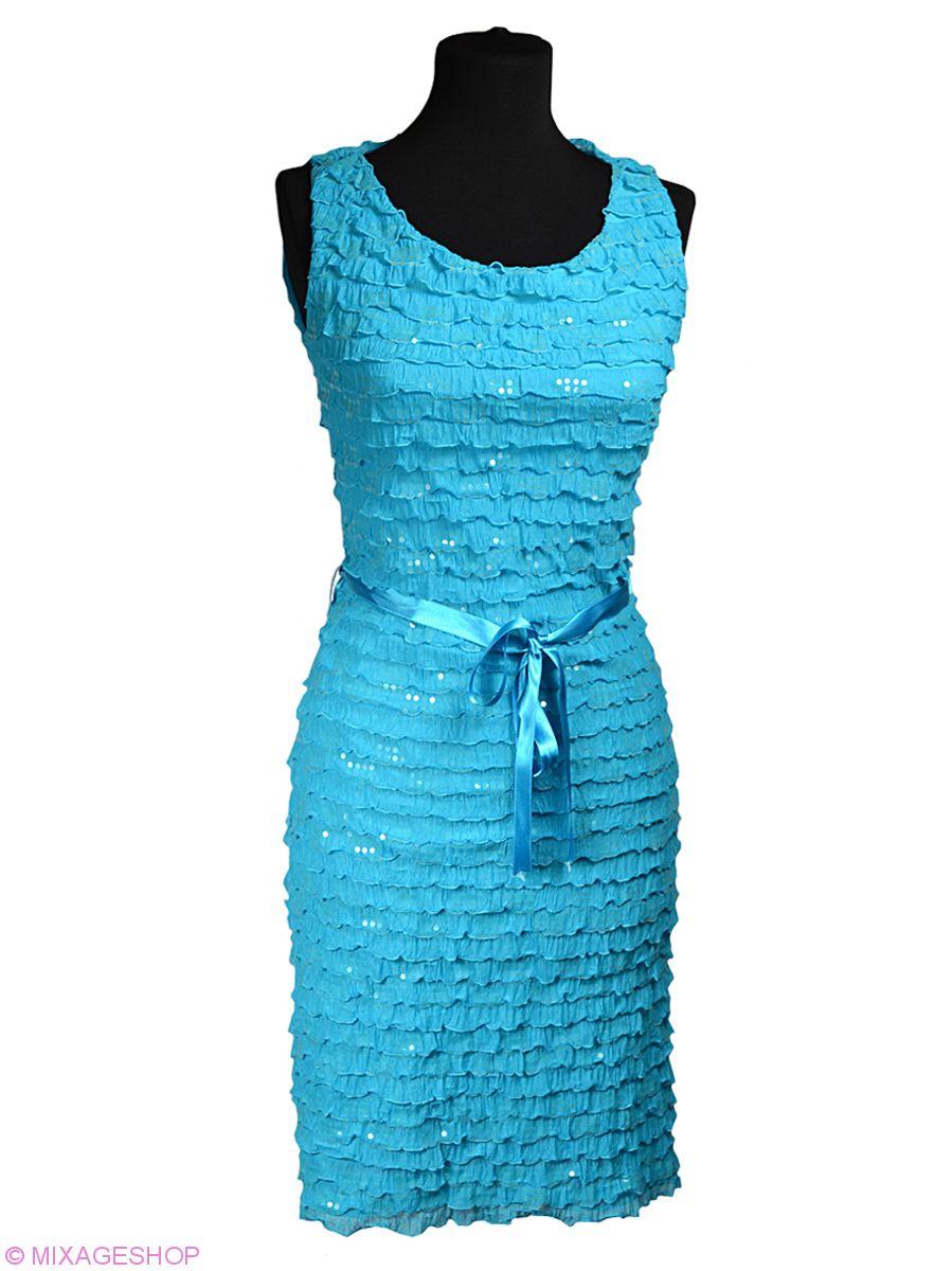 Нежное бирюзовое платье украшено прозрачными пайетками