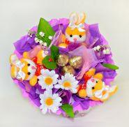 """Букет из игрушек с конфетами №472-3К """"Солнечные ромашки"""""""