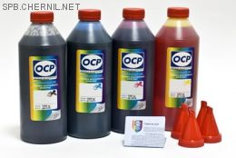 Чернила OCP для принтера и МФУ Canon iP1800, iP1900, MP160, MP210 (BKP44, C795, M795, Y795), картриджи PG-40, CL-41 комплект 1000 гр. x 4