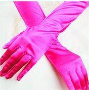 Перчатки вечерние атласные длинные розовые