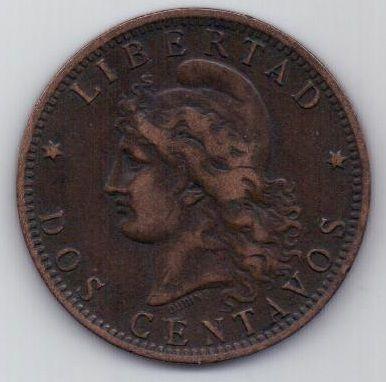 2 сентаво 1895 г. редкий год. Аргентина
