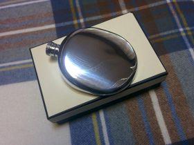Фляжка из британского пьютера- Классика (без узора, овальная) - ,  Plain Flask ,English Pewter