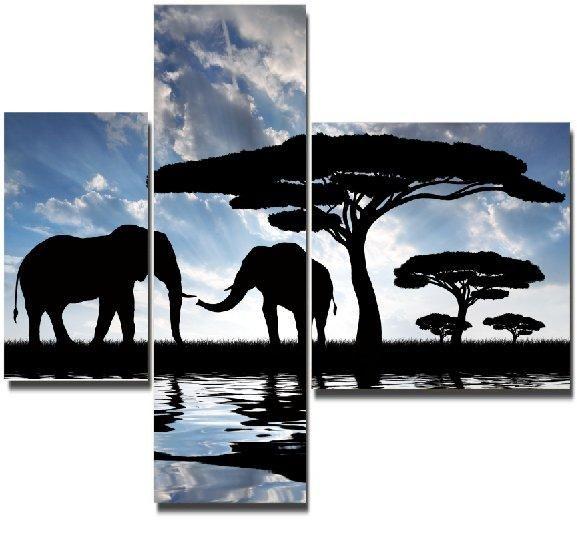 Модульная картина Слоны на водопое