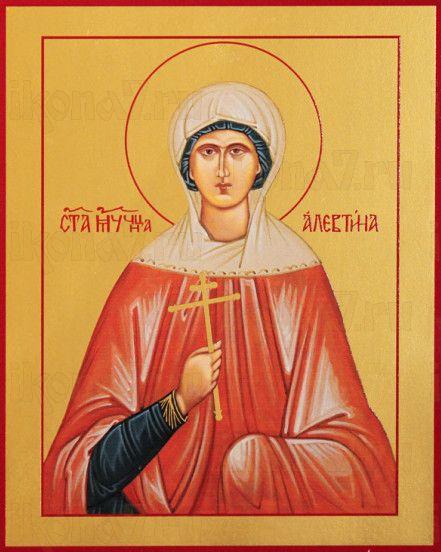 Алевтина Кесарийская (рукописная икона)